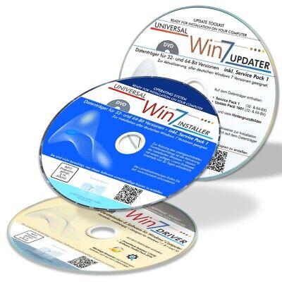 Win 7 Installation Set für alle Windows 7 Versionen mit Treiber- und Update-DVD ()