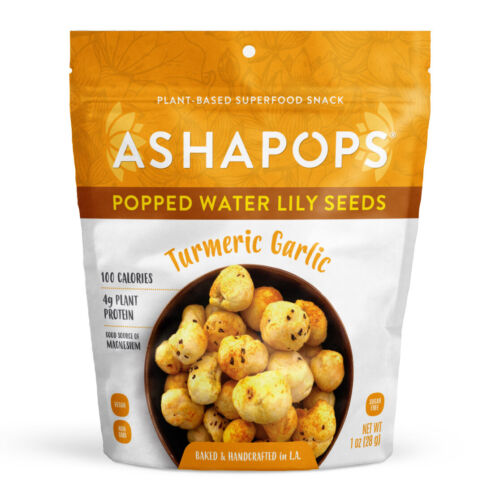 AshaPops Gluten Free Vegan Turmeric Popped Water Lily Seed Snack Pack 6