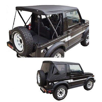 (1986-1994 Suzuki Samurai Replacement Soft Top w/ Removable Tinted Windows Black)