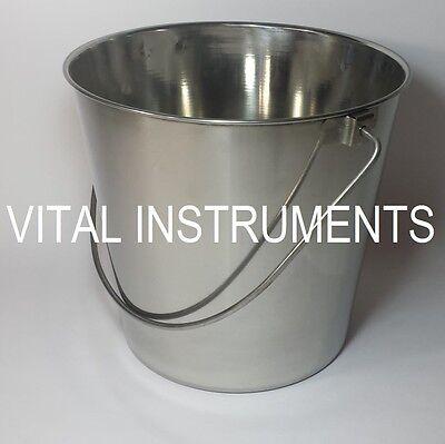 Stainless Steel Bucket Pail 9 Qt Dog Kennel Farm Water Milk Feeding Heavy Duty