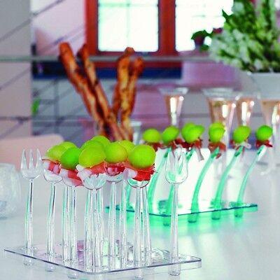 Rosseto Liteware Trio & Tray Clear Party Pack,12 Tasting Forks plus Serving - Liteware Plastic Fork