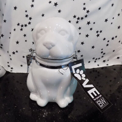 Dog Treat Jar White Ceramic Canister New