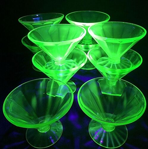 Vtg Art Deco Federal Glass Green Depression Uranium Sherbet Dishes 10 Available