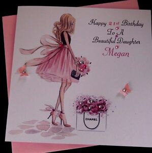 handmade birthday card personalised 16th 21st 40th daughter sister niece cousin - Personalised Birthday Cards