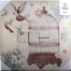 BIRDCAGE CANVAS Metallic Hanging Wall Art ARTWORK Print Decor Gift 47x47 x3cm