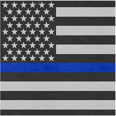 """Subdued US Flag with Thin Blue Line Support the Police Bandana 22"""" x 22"""""""