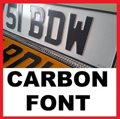 CROMA- CARBON Font Car Pair Metal Aluminium Number Plates Pressed Embossed Legal