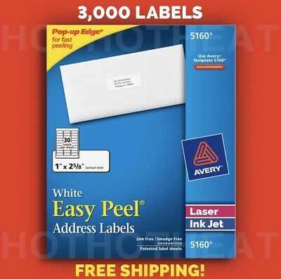 1 Box Of 3000 Avery 516062408460 Address Mailing Shipping Labels 1 X 2 58