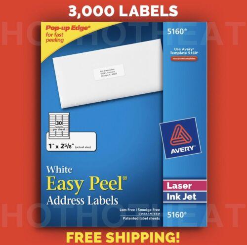 1 Box Of 3000 Avery 5160/6240/8160 Address Mailing Shipping