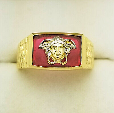 10K Yellow Gold Men's Medusa Face Ring Versace Ring