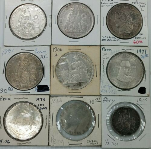 Mixed Lot 9 Peru South America Silver Coins 100 Sol,50 Sol,Un Sol,4 Reales I983