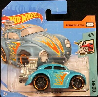 Hot Wheels Volkswagen Beetle TEAL Tooned VW #347 2018 new on short card