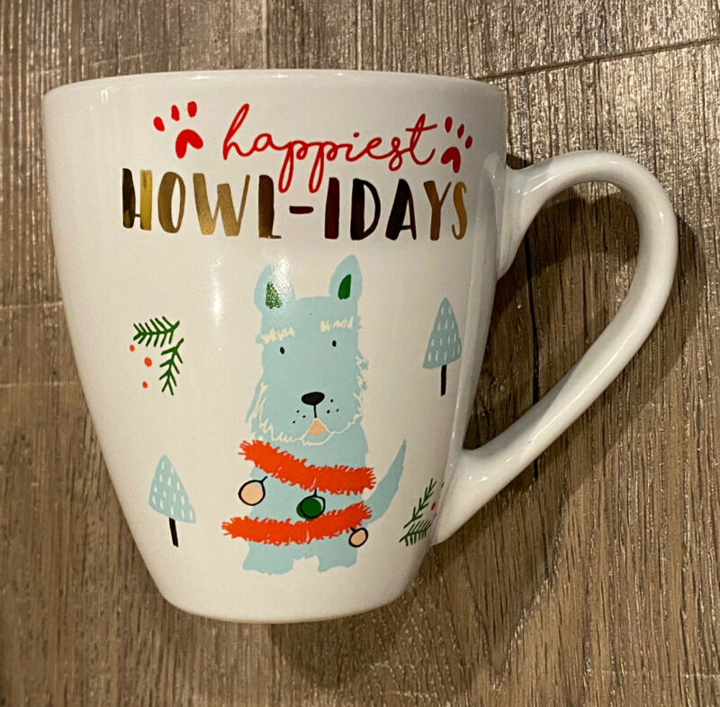 Dog Christmas Mug Happy Howlidays Coffee Cup White Ceramic 16 oz