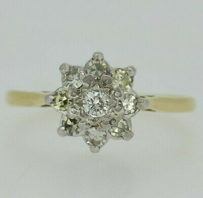 18ct Yellow Gold Diamond Cluster Ring Size R
