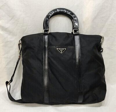 Vintage Prada Tessuto Nylon Soft Calf Tote Bag Black
