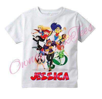 DC Superhero Girls Custom t-shirt Personalize Birthday gift ADD NAME