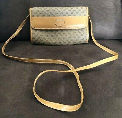 Vintage GUCCI Beige Leather GG Monogram Cross Body Purse/Handbag Italy
