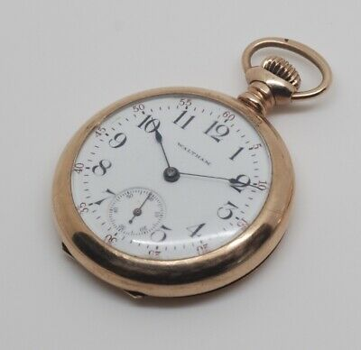 WALTHAM pocket watch, 0 size, open face, gold filled case, works great