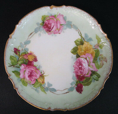 Antique AK CD French Limoges Hand Painted Rose Plate Signed by Artist
