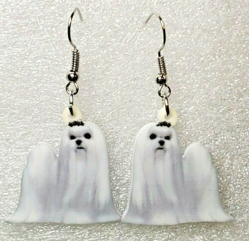 Maltese White Dog Realistic Acrylic Double-Sided Silver Hook Earrings Jewelry