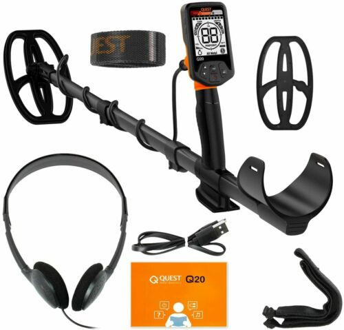 "QUEST Q20 Metal Detector With 9.5""X5"" Waterproof Search Coil"