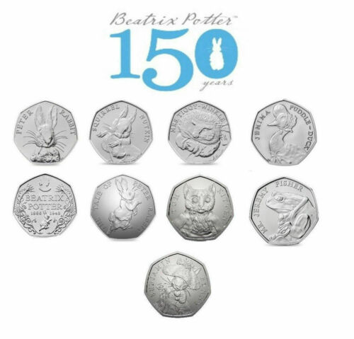 Beatrix Potter 50p Coins. Jemima Puddle duck,Peter Rabbit,Tom Kitten.Fifty Pence