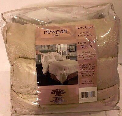 Four Piece Comforter - NEWPORT HOME IVORY COAST FOUR PIECE COMFORTER SET LUXURY SIZE QUEEN. BRAND NEW!!
