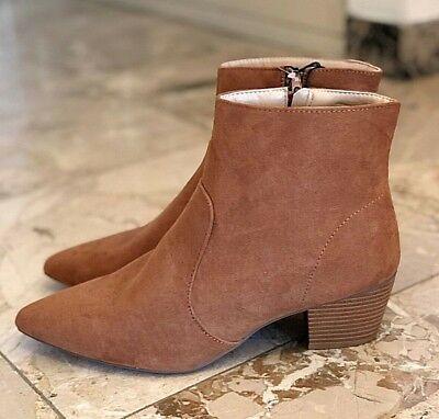 Boots/bottines/chaussures camel à talon moyen et bout pointu pour femme