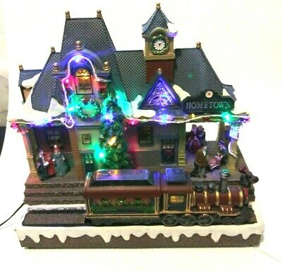 HOMETOWN TRAIN DEPOT Christmas Village Building LED Lights to Music Train Moves!