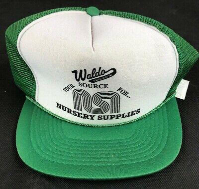 Vintage Waldo Nursery Supplies Trucker Hat Snap Back Hat Green Baseball Cap - Waldo Hats