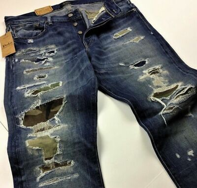 Polo Ralph Lauren Men Military Army Camo Distressed Repaired Rip Patchwork Jeans
