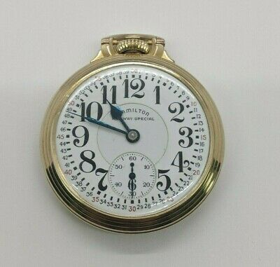 Original Hamilton 10K Gold Filled Railway Special 21 Jewel 992B Pocket Watch