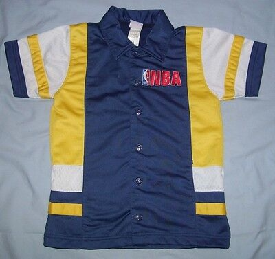 VTG NBA Basketball Blue/White/Gold Button Snap Up Shooting Shirt Kid's Size S/8