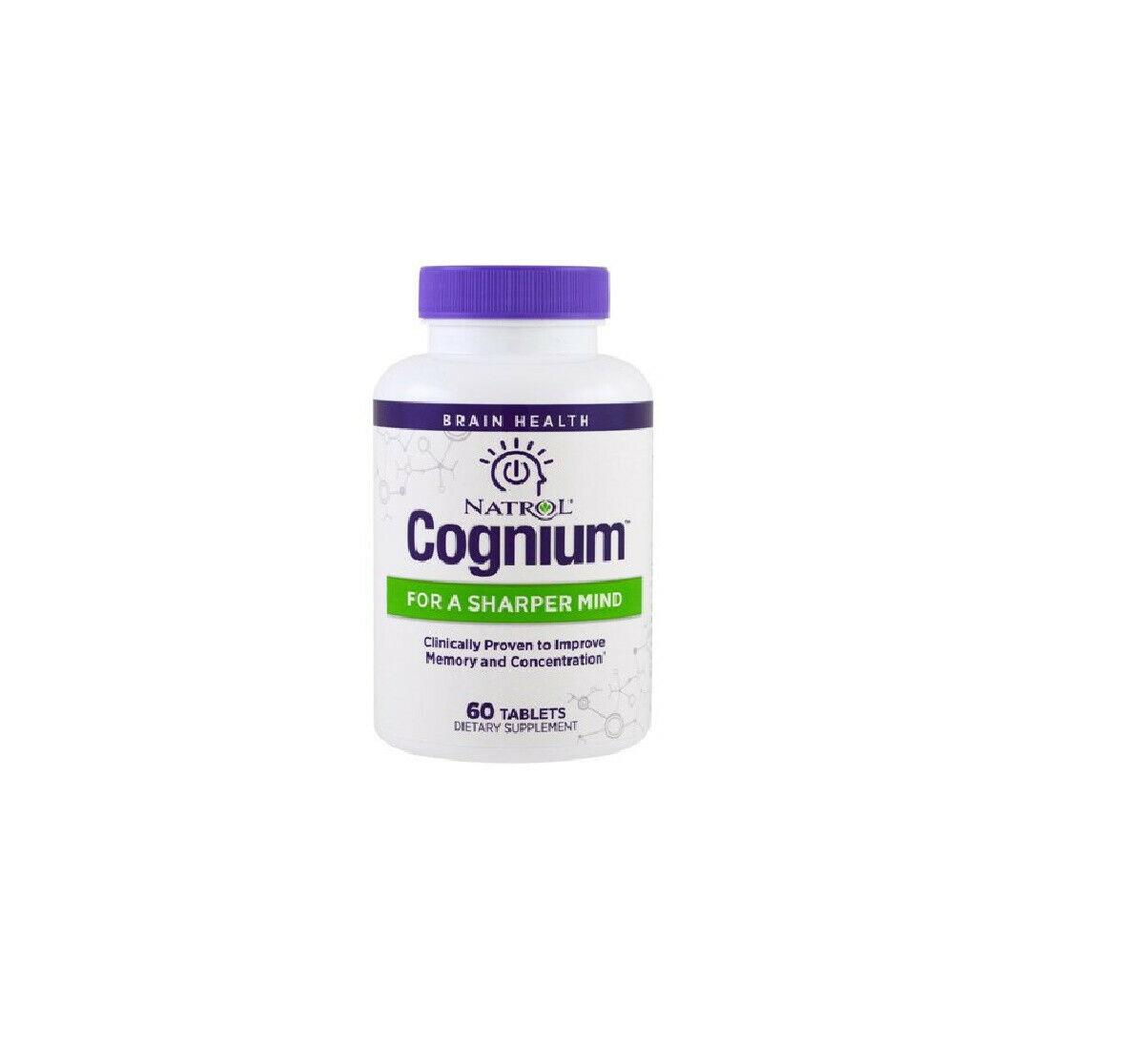 Natrol Cognium Brain Health Improve MEMORY 60 Tablets 2020 Stimulant-New in box