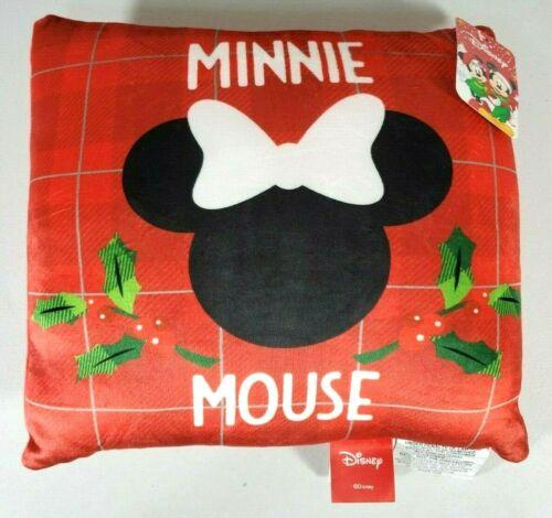 "Disney Minnie Mouse Plaid Ears Christmas Decorative Throw Pillow Plush 11"" x 11"""