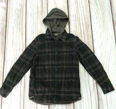 VANS Grey Black Check Hooded Shirt Overshirt Heavy Cotton Skater Size Medium