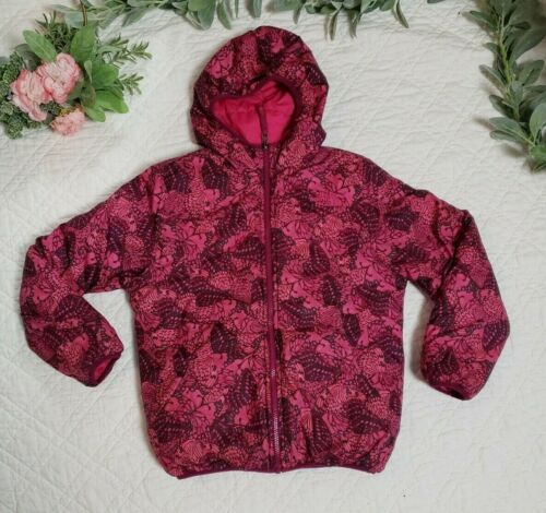 The North Face Girls Pink Reversible Coat Size M Pink And Butterflies 10/12