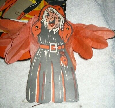 1950's Halloween Decorations (1950s HALLOWEEN WITCH CREPE ACCORDION ART TISSUE ARMS Japan       )