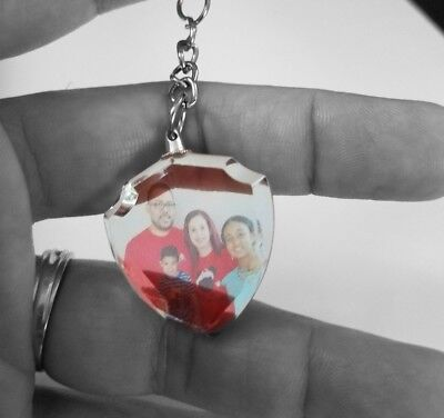 Personalized Photo Crystal Key chain Necklace Charm Pendant US SELLER - Shield (Personalized Photo Charm)