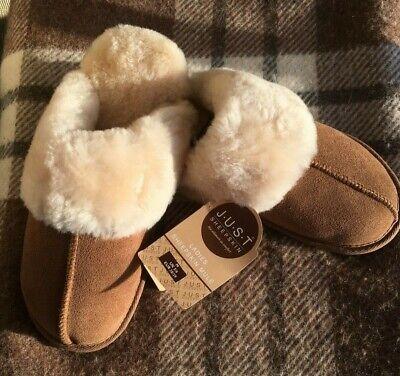 Just Sheepskin Slippers Mules UK 3 - 4 Small NWT  Tan