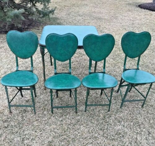 Antique Vintage  Mechanical Vinyl Set Table and 4 Chairs Green Decorate Heart
