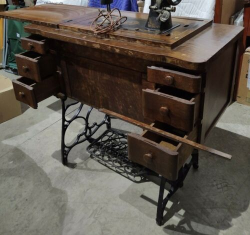 Antique Franklin Treadle Sewing Machine with Cabinet