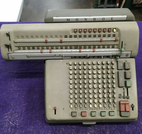 MONROE Monromatic Adding Machine Calculator 8N-213 UNTESTED NO POWER CORD