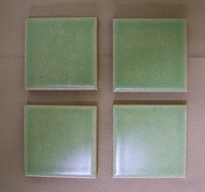 """1 Vintage 3"""" small thick TILE Pale Green Crackle Finish Glazed Ceramic Wall NOS"""