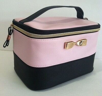 Victoria's Secret Travel Train Case Cosmetic Bag Pink Black Gold Bow New.