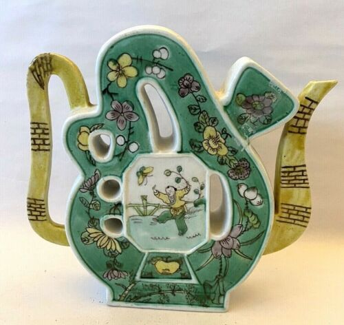 Antique Chinese Famille Verte Puzzle Porcelain Teapot Early 1900