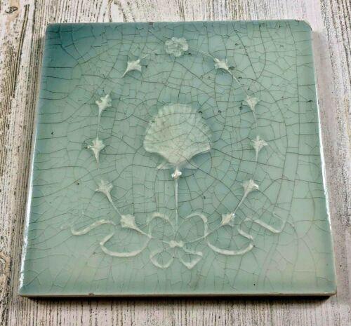 "Antique Light Blue Gray Shell Ceramic Tile 6x6"" Ocean Theme Reclaimed Salvage"