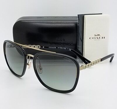 6dea4e3330 New Coach sunglasses HC7089 931811 58 Black Gold Gradient Chain AUTHENTIC  7089