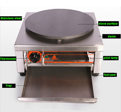 Commercial Pancake Fruit Machine Single Head Electric Crepe Maker 110v2.75kw 25a