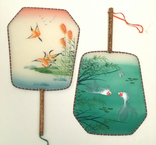 """Vintage Chinese Silk and Bamboo Hand Painted Paddle Fans - Ducks and Fish 12"""""""